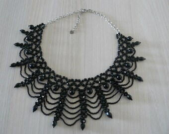 Black Choker necklace and silver chain