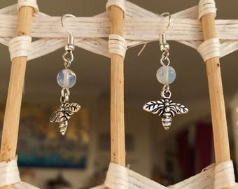 Opals and Bees Earrings