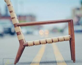 T.H  Robsjohn Gibbings for Widdicomb Canvas Rope Lounge Chair