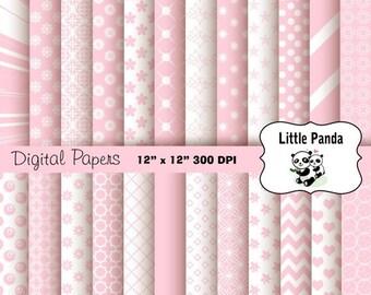 80% OFF SALE Pastel Pink Digital Scrapbook Paper Pack 24 jpg files 12 x 12  - Instant Download - D252