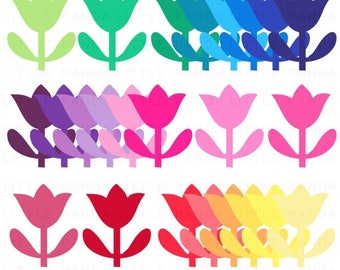 60% OFF SALE Rainbow Tulips Digital Clip Art - Personal and Commercial Use - Instant Download - C111