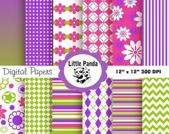 60% OFF SALE Tinkerbell Digital Paper Pack, Scrapbook Papers, 12 jpg files 12 x 12  - Instant Download - D42