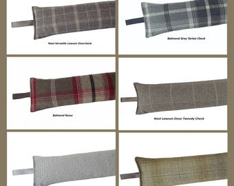 Draught Excluder heavy weight - Various fabric inc Next and Porter and Stone Tartan Checks 1.9 kg  Buckwheat filled - British made