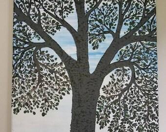 spring tree on canvas