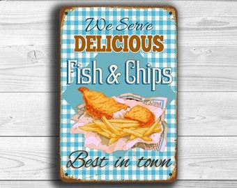 FISH and CHIPS SIGN, Vintage style Fish and Chips Sign, Fish And Chips Restaurant Sign, Diner Sign, Kitchen Sign, Kitchen Decor, Restaurant