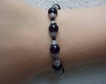 Black Obsidian and Silver Bracelet