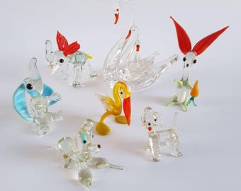 Vintage kitsch glass animal ornaments | Poodles | Rabbit | Pelican | Elephants | Swans