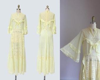 1970s Limoncello Lace Dress { S-M } Vintage 70s Mexican Wedding Dress