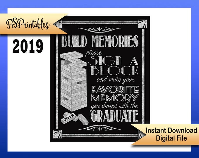 2019 Graduation sign, printable sign, Great Gatsby grad, graduation sign, 1920's graduation, Art Deco graduation party sign, BLACK & SILVER