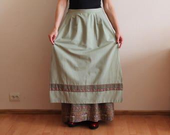 Dirndl Skirt Vintage Homemade  Skirt with Apron  Alpen Trachten Loden Dirndl Full Skirt German Austrian Tyrolean Bavarian  Skirt  Large Size
