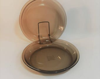 "Vintage Brown Visions Pyrex 9"" Pie Plate, #209, Set of 2"