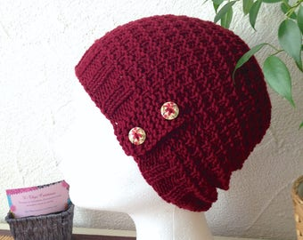 CLEARANCE - Hat woman or teen structured Burgundy colors