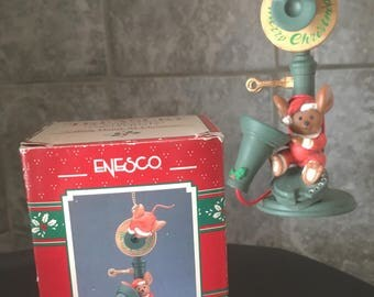 Vintage Enesco Calling Home At Christmas Ornament in Box Old Telephone Mouse Mice Collectible