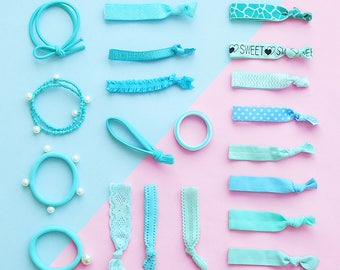 20 Pieces Turquoise Set of Hair Elastic Band|Bracelet|Rubber Band|Metal Charms and Beads|Ponytail Holder|Accessory Supplies|Hair Tie Band