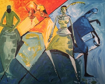 African Painting. Dancing Time 2. Acrylic Painting On Canvas.