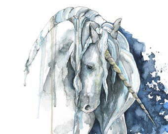 "Watercolor Unicorn Painting - Print titled, ""Veiled in Starlight"", Unicorn Painting, Unicorn Horn, Fantasy Art, Unicorn Print, Unicorn Art"