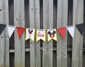 Mickey Mouse I am 1 banner   Highchair banner
