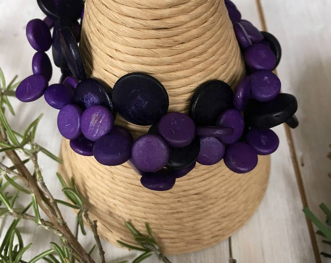 Coconut Shell Natural Bracelet, by Ecoblue fair trade jewellery - purple