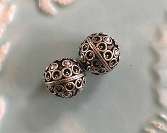 Ornate Granulated Silver Bali Ball Bead 13x13mm