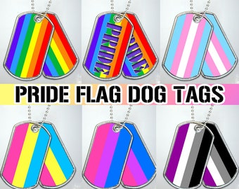 Gay Lesbian LGBTQ Pride Flag Dog Tag Necklace Military Keychain Metal Transgender Asexual Bisexual Pansexual Bear Parade Fest