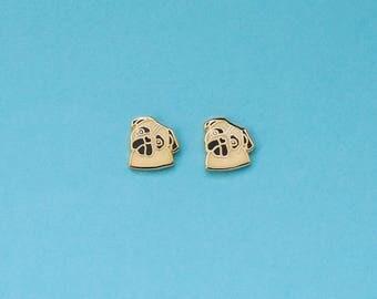 Pug Enamel Earrings with Rubber Stud // Hard Enamel, Jewelry, Studs