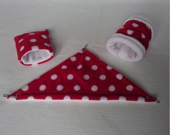 Fleece Cage Set (Corner Hammock / Tunnel / Sleeping Bag) for Russian / Dwarf / Roborovski Hamster (Red & White Polka Dots / White)