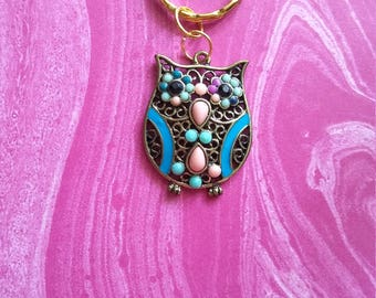 Colorful owl keychain