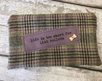 Life is too short for lint rollers -  dog lovers zippered purse/pouch. Beige and lilac tartan wool