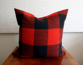 Wool Buffalo Check Red and Black Plaid Pillow Cover / Red Buffalo Check / Black and Red Check / Lumberjack Pillow Cover - 20x20