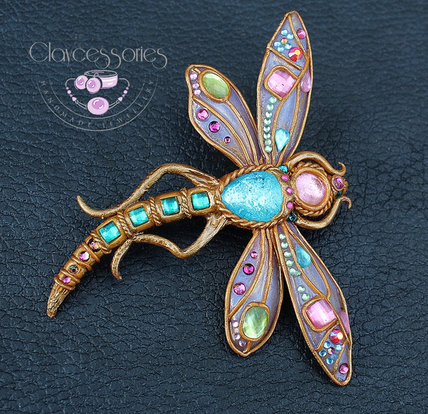 Dragonfly brooch / Dragonfly pin / Dragonfly jewellery / Art Nouveau dragonfly / Insect brooch / Statement brooch / Polymer clay brooch