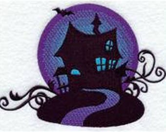 embroidered Hand towel - halloween haunted house filigree - many colors available