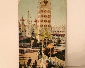ON SALE 1908 Luna Park Coney Island New York Postcard Old Vintage Antique