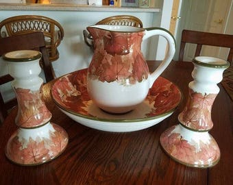 Montgomery Ward Harvest Pattern Pitcher, Bowl and 2 Candle Sticks