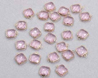 4 Pcs Faceted Crystal Bezel Pendants -- With Electroplated Gold Edge Charms Wholesale Supplies YHA-327-2