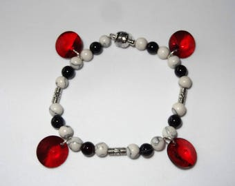 Black, White & Red Bangle Bracelet