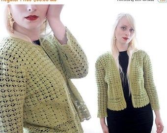 20% OFF SALE Vintage 1990s cropped avocado grass green crochet lace cardigan sweater Open jacket boho 90s