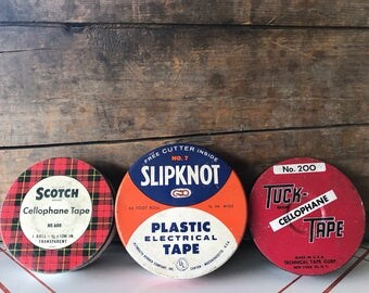 Vintage Tape Tins Slipknot Plastic Electrical Tape Tin Scotch Cellophane Tape Tin Tuck Cellophane Tape Tin