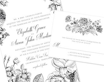 Floral / Botanical Wedding Invitation | DIY Option Available | Invitation | RSVP | Info Card #1197
