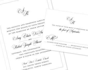 Romantic Script Wedding Invitation | Calligraphy | Modern Wedding Invitation | DIY Option Available | Invitation | RSVP | Info Card #1224