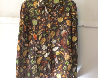 Vintage Silk(?) Fall Foliage Blouse