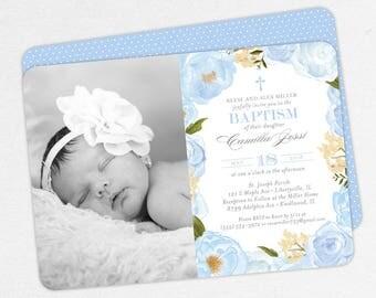 Photo Baptism Invitation, Christening Invitation, Girl Baptism Invitation, Printable Baptism, Watercolor Flowers, Floral, PDF, Blue, Camilla