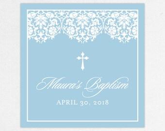 Baptism Favor Tag, Baptism Favor Label, Christening Favor Tag, Christening Favor Label, Printed, Floral, Damask, Lace, Girl, Blue, Maura