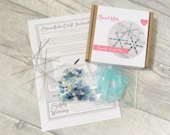 DIY Snowflake Making Kit - beaded snowflake Christmas ornaments, easy kids Xmas craft, tree decorations, stocking filler