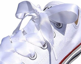 Satin laces, Wedding shoelaces, 7/8 inch satin laces, tennis shoelaces, Satin ribbon shoelaces