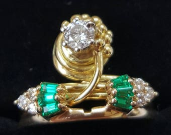 Stacking Vintage Diamond and Emerald Rings, Double Stacking Rings, Brilliant cut Diamonds, Rectangular cut Emeralds,