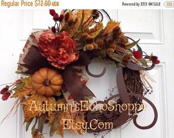 FALL DOOR WREATH~ Fall Monogram Wreath~ Fall Rustic Style Door Wreath~Seasonal Door Decor ~Front Door Wreath ~Thanksgiving Wreath ~Farmhouse