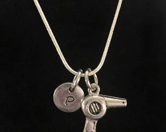 Hair Dryer Sterling Silver Necklace, Blow Dryer Sterling Silver Necklace, Hairdresser Sterling Silver Necklace qb152