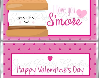 Valentine's Day Chocolate Bar Wrappers - Valentine Smore Favors for Kids - Custom Candy Wraps - Hershey Bar Wrappers - Printable PDF