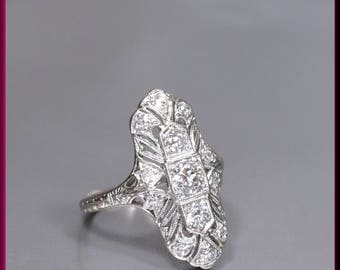 Antique Vintage Art Deco Platinum Filigree Old European Cut Diamond Dinner Ring Statement Ring - R 529S