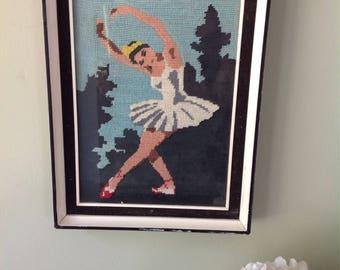 Vintage Ballerina tapestry.....Black and white wooden frame.....glass pane.....tiered frame...1950s.
